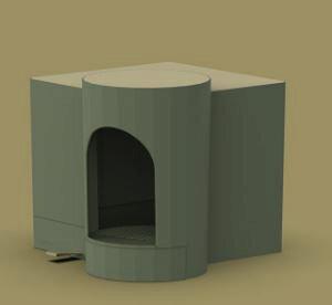 猫トイレ本体 フルカバー カバー おしゃれ キャットトイレ 猫用品(グッズ) リゾートハウス風 グリーン色/Green [送料無料 輸入品] ねこといれ 猫グッズ ネコトイレ 猫用トイレ
