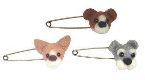 【完成品/1点もの】ハンドメイド 羊毛フェルト ストールピン 犬