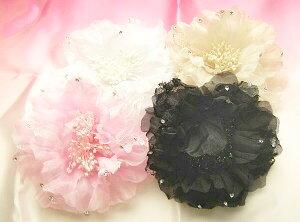 【送料無料】 シフォン コサージュ 2 〔ブローチ&ヘアクリップ フラダンス フラワーお花 髪飾り〕