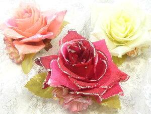 【送料無料】コサージュ ローズ オーロララメ 〔髪飾り 浴衣 ブローチ ヘアクリップ フォーマル 薔薇 お花〕