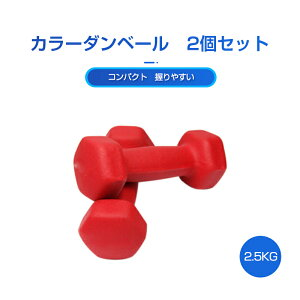 カラーダンベル 2個セット 2.5KG 筋トレ 女性 コンパクト 持ちやすい ダイエット エクササイズ トレーニング 鉄アレイ 女性用 ダンベル 滑りにくい