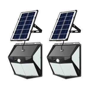 分離型 ソーラーライト センサーライト 2個セット 300LED 4面発光 延長コード5m 高輝度 太陽光発電 配線不要 三つ点灯モード 自動点灯/消灯 防犯 防水 屋外