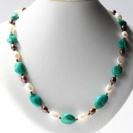 天然トルコ石 天然真珠 ネックレス(48cm)