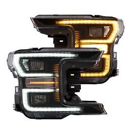 USEKA フォード F150 F-150 ラプター ヘッドライト全LED仕様 昼間ランニングライト付き 流れるウインカー 左右2点セット ハロゲン専用 新品 ドレスアップ FOR ford f150 headlight 2018-2019
