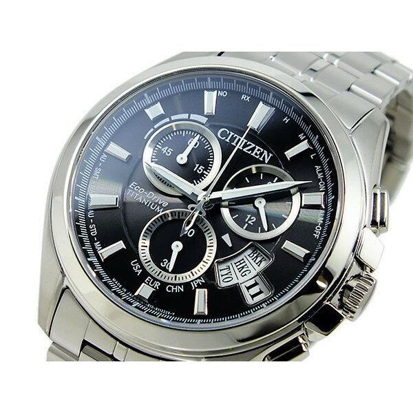 シチズン CITIZEN 腕時計 メンズ クロノグラフ 電波 ソーラー ブラック×シルバー エコドライブグラフ