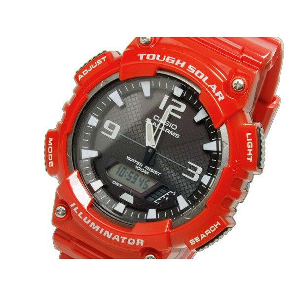 カシオ CASIO 腕時計 メンズ デジタル ソーラー 100m防水 グレー×レッド スタンダード