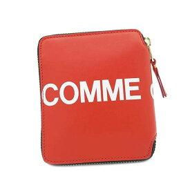コムデギャルソン COMME des GARCONS 二つ折り財布 レディース メンズ ユニセックス レザー ラウンドファスナー ロゴ RED