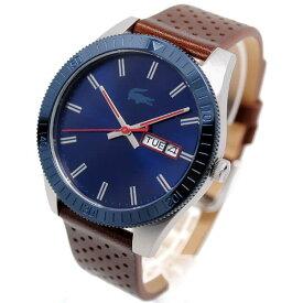 ラコステ Lacoste 腕時計 メンズ レザー アナログ ネイビー×ブラウン