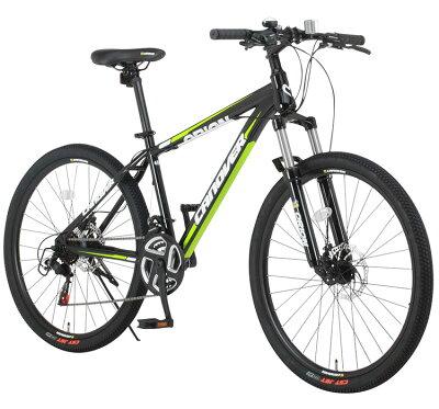 【ライト付き】自転車26インチマウンテンバイクMTBATBディスクブレーキフロントサスペンションシマノ21段変速CANOVERカノーバーCAMT-042-DDORION