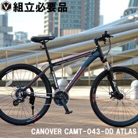 マウンテンバイク 自転車 26インチ MTB ライト付き ディスクブレーキ Fサス シマノ24段変速 超軽量 アルミフレーム CANOVER カノーバー CAMT-043-DD ATLAS