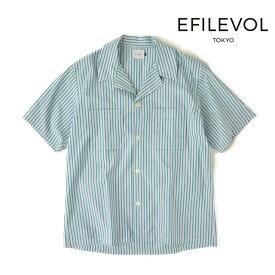【送料無料】エフィレボル ダブルポケットストライプシャツ Half Sleeve Striped Ewen Shirt メンズ コーデ ストライプ柄 春 襟 半袖 EFILEVOL