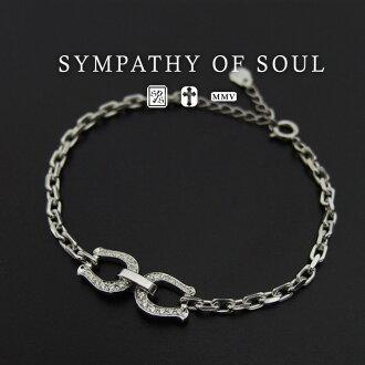 Sympathy Of Soul Horseshoe Bracelet Silver Cz Main Chain W Clear Uni Mens Womens