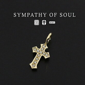 Sympathizer sea of Seoul little cross charm pendant diamond man and woman combined use sympathy of soul Little Cross Charm K18Yellow Gold w/Diamond (cross necklace k18 gold men gap Dis pair necklace Shin pull)