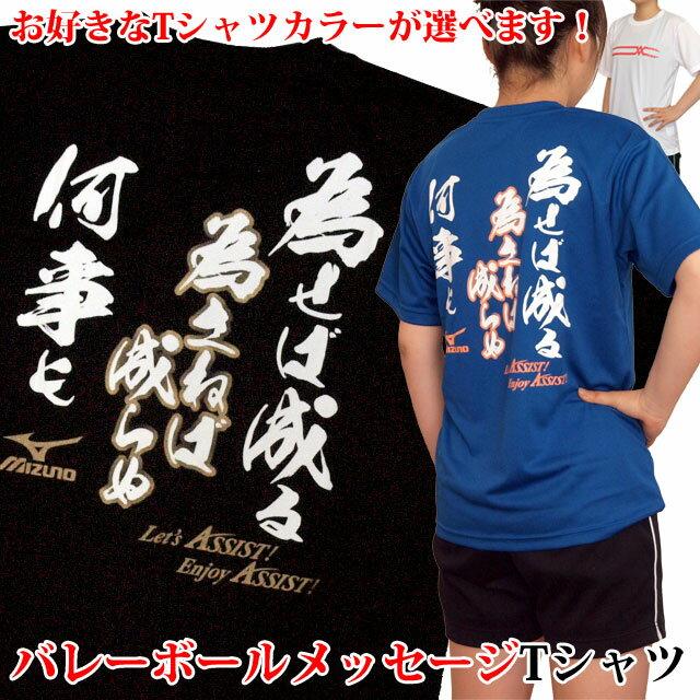 オリジナルTシャツ バレーボール 練習着 ミズノ Tシャツ 半袖 プリント 為せば成る 為さねば成らぬ 何事も