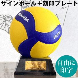 プレート付★ミカサ マスコットボール バレー セット サインボール 寄せ書き 卒業記念品 ネームプレート バレーボール V030W 刻印 自由 ゴールド mikasa 1個から製作します