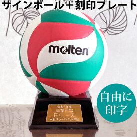 プレート付★モルテン サインボール バレー セット 寄せ書き 卒業記念品 ネームプレート バレーボール V1M500 刻印 自由 ゴールド molten 1個から製作します