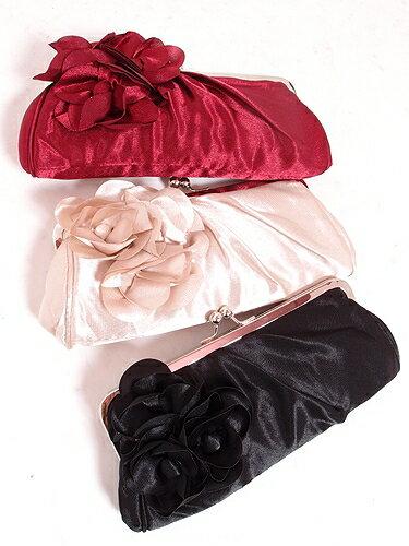 ◆3way♪薔薇 モチーフ クラッチ バッグ◆結婚式 カバン 二次会 お呼ばれ 披露宴 鞄 かばん キャバ 小悪魔 アゲハ お水 フォーマル 斜めがけ ショルダー ポーチ サテン ブラック 黒 レッド ワイン 赤
