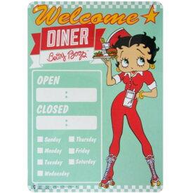 アメリカン キャラクター プラスチック サイン ボード Betty Boop Diner OPEN CLOSED ベティブープ ベティちゃん ベティーちゃん ダイナー オープン クローズ 看板 プレート インテリア グッズ
