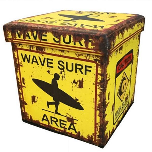 アメリカン ビンテージ風 フォールディングスツール Sサイズ WAVE SURF AREA サーフィン サーフ ボックススツール アメリカン雑貨 アメリカ 雑貨 インテリア 折りたたみ いす 椅子 イス スツール 収納 ボックス グッズ 世田谷ベース