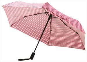 エスシーエス ギンガムチェック 折りたたみ傘 自動開閉 日傘/晴雨兼用 ピンク