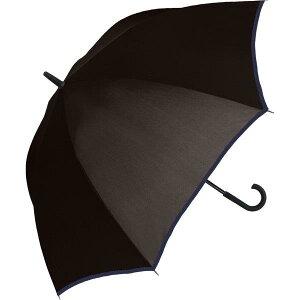 長傘 ジャンプ 雨傘 メンズ 中谷 ネイビー 先端ラバーつきで滑りにくいステッキ風石突き 無地Aジャンプ パイピング