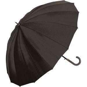 長傘 ジャンプ 雨傘 メンズ 中谷 ブラック 先端ラバーつきで滑りにくいステッキ風石突き 紳士16本骨 無地