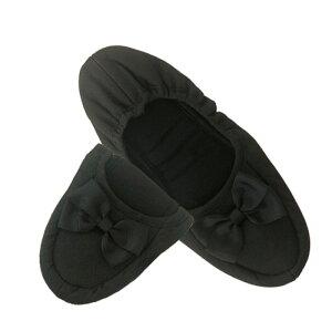 ルームシューズ レディース ピンクトリック ブラック 巾着付折りたたみスリッパ