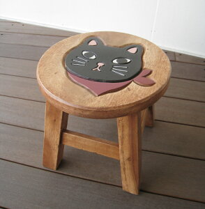 スツール キッズチェア 木製 子供用椅子 楽天 アカシア無垢 ベビーチェア 子供イス 猫 ネコ ねこ 子ども椅子 子供いす 無垢 花台 台 踏み台 おすすめ 人気 天然木 レトロ かわいい プレゼント