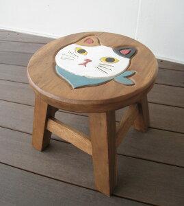 スツール キッズチェア 木製 子供用椅子 アカシア無垢 楽天 ベビーチェア 子供イス 猫 ネコ ねこ 子ども椅子 子供いす 無垢 花台 台 踏み台 おすすめ 人気 天然木 レトロ かわいい プレゼント
