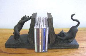 本立て ブックエンド ブックスタンド 猫 ねこ ネコ 置物 ディスプレイ アンティーク ネコ 猫 ねこ オブジェ おしゃれ 雑貨 CDスタンド デスク プレゼント ギフト 贈り物 ネコ好き ネコグッズ
