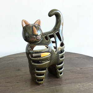 猫 ねこ ネコ 置物 香炉 おしゃれ 猫好き 猫雑貨 置き物 ネコグッズ 猫グッズ LED アロマキャンドル ろうそく立て 陶器 和風 和モダン アジアン雑貨 おしゃれ インテリア雑貨 オブジェ お誕生