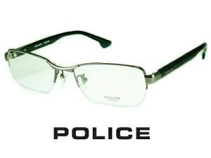 【カーボンパターン付テンプル】ハーフリム設計/チタン/ブラックカーボン/ガンメタル POLICE ポリス めがねフレーム VPLB72J-0568 【レンズ付セット】【送料無料】度付き 眼鏡 伊達メガネ メン