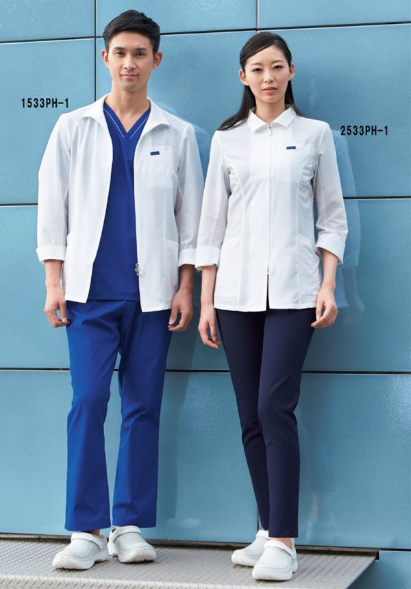 医療用白衣 メディカルウェア女子ハーフコート長袖 2533PH (S〜4L)ドクターウェア ガリガリ君クールコートフォーク (FOLK) お取寄せ