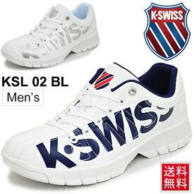スニーカー メンズ シューズ ケースイス K・SWISS KSL02 BL/厚底タイプ プラットホーム ビッグロゴ カジュアルシューズ 男性 スポーティ ダッドスニーカー くつ/3680023