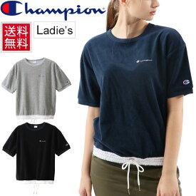 92b4740ce51a65 Tシャツ 半袖 レディース チャンピオン Champion ショートスリーブパイル TEE パイル生地 クルーネック 女性 シンプル