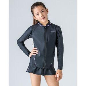 キッズ ラッシュガード 長袖 水着 女の子 子ども ナイキ NIKE GIRLS ロングスリーブ フルジップ 子供用 120-160サイズ 日焼け対策 紫外線対策 UVカット スイムウェア 水泳 スイミング プール 海水