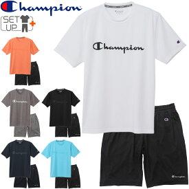 半袖Tシャツ ハーフパンツ 上下セット メンズ 2点セット/チャンピオン Champion スポーツウェア セットアップ トレーニング フィットネス 男性 自宅トレ ジム/C3-TS310-C3-TS510
