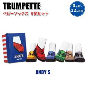 ベビーソックス トランペット ANDY'S 12〜13cm 0〜12ヶ月 6足セット ベビー 男の子 靴下