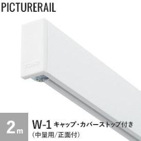 【ピクチャーレール】TOSO ピクチャーレール W-1 (中量用/正面付) 工事用セット(キャップ・カバーストップ付) 2m ホワイト__pi-to-w1-w02
