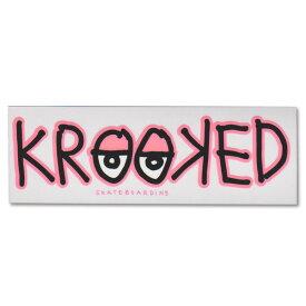Krooked Logo Sticker Neon Pink【クルキッド ロゴ ステッカー】クルックド/ロゴデザイン/スケートボード/スケボー/クリアタイプ/シール/デカール【ネオンピンク】 /【ポイント】05P03Dec16