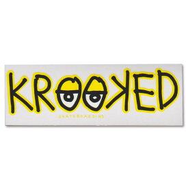 Krooked Logo Sticker Yellow【クルキッド ロゴ ステッカー】クルックド/ロゴデザイン/スケートボード/スケボー/クリアタイプ/シール/デカール【イエロー】 /【ポイント】05P03Dec16