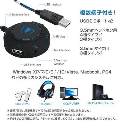 外付けサウンドカード/SOUND/CARD/USB/ハブ2.0/オーディオ/変換/アダプタ/Windows/PC/Macbook/PS4/マイク/ゲーミング/ヘッドセット/ヘッドホン/ゲーム用/コネクタ/分配/分岐/◇GM-280
