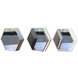 ミラーデジタルクロック 置き 掛け 時計 インテリア 雑貨 ウォールランプ LED 鏡 手鏡 ハンドミラー おしゃれ かわいい コンパクト ライト USB 充電式 ◇MC-03