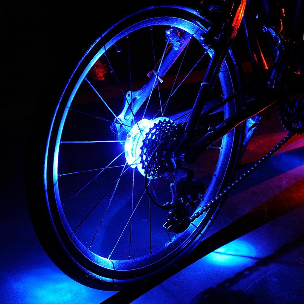 自転車ホイール用ライト タイヤ用ライト デコレーション カスタム イルミ 電気 電池 警告ライト 事故防止 簡単取付 綺麗 お洒落 全5色 アクセサリー 【メール便】◇DE-010