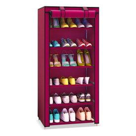 ロールカーテン シューズボックス 6段 靴 ブーツ クローゼット 収納 目隠し 小物 衣類 ◇LH-6