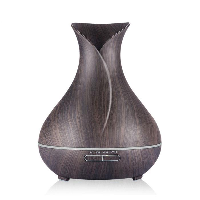 木目調 アロマディフューザー 超音波式 加湿器 卓上 花瓶型 LED7色ライト アロマテラピー 時間設定 空焚き防止 ◇XZ-301