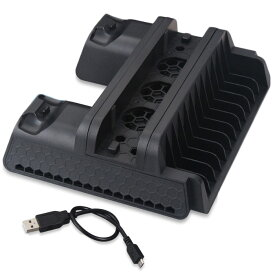 PS4シリーズ 縦置きスタンド 冷却ファン PS4 / PRO / SLIM 収納 コントローラー2台同時充電可 ゲームソフトパッケージ12個収納 放熱 【並行輸入品】 ◇TP4-882
