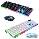 ゲーミングキーボード マウスセット 有線 USB接続 LEDバックライト付き 104キー ゲームキーボード 光学式マウス 標準…