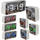 デジタル LED ミラークロック 置き時計 目覚まし時計 多機能 アラーム 温度 卓上 寝室 シンプル 鏡面 12/24時間表示 U…