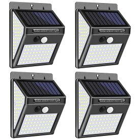 4個セット 140LED ソーラーライト ウォールライト 人感 センサーライト PIR 夜間自動点灯 IP65防水 太陽光充電 屋外 ◇AXW-W02140-4SET